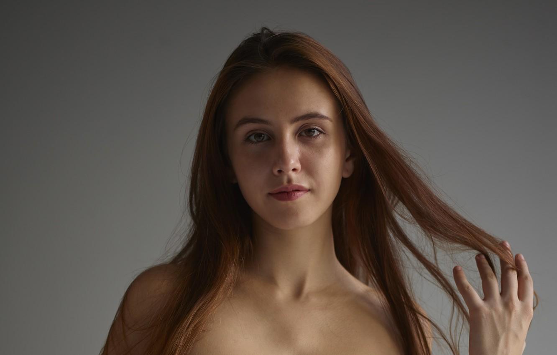 Photo wallpaper brown hair, brown eyes, model, pretty, face, hair, brunette, portrait, close up