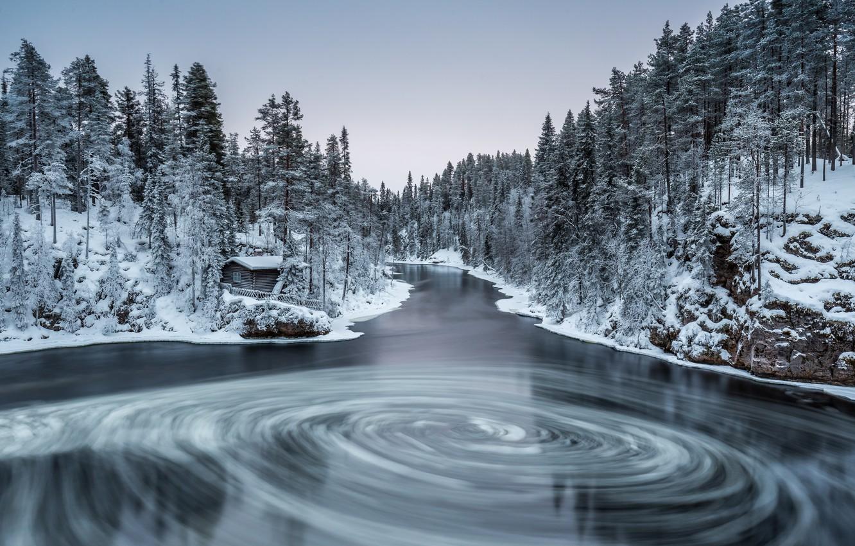 Photo wallpaper winter, forest, nature, river, finland, in kuusamo, myllykoski