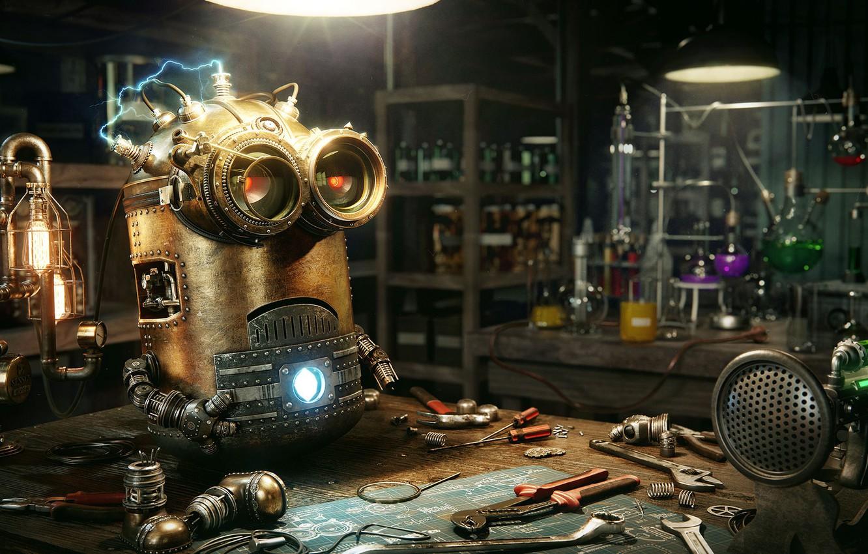 Photo wallpaper instrumento, office, laboratory, Steampunk Minion, Dmitriy Ten