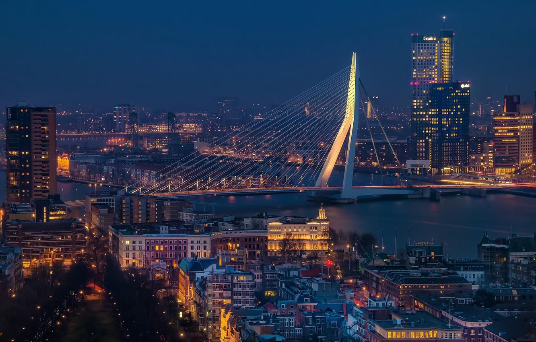Photo wallpaper Netherlands, blue hour, cityscape, Rotterdam, Erasmus Bridge, urban scene, Erasmusbrug