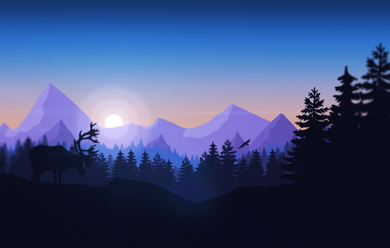 Photo wallpaper Mountains, The game, Bird, Forest, View, Hills, Deer, Landscape, Animal, Campo Santo, Firewatch, Fire watch
