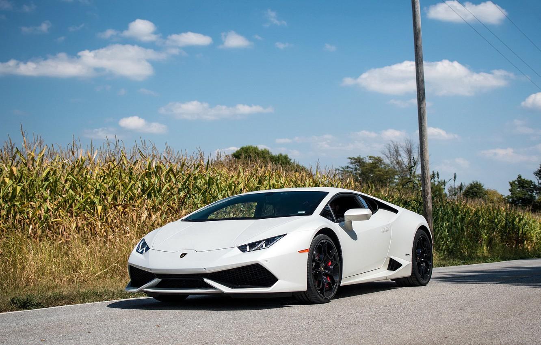 Photo wallpaper Lamborghini, White, Huracan, Cornfield