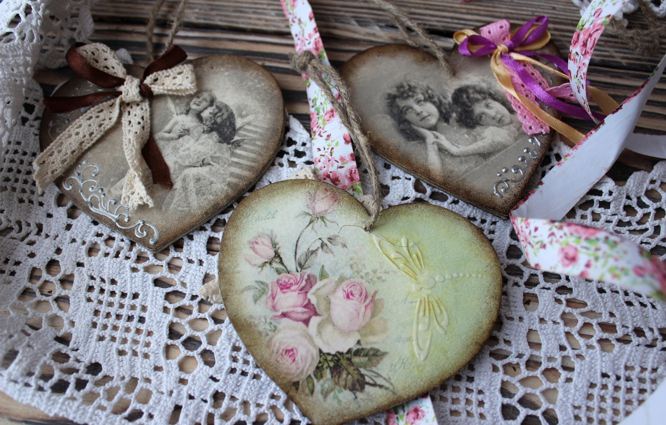 Photo wallpaper girls, heart, roses, bow, lace, vintage, decoupage