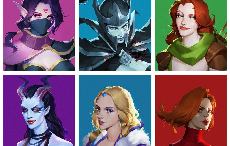 Photo wallpaper Art, Girls, Crystal Maiden, Dota 2, Templar Assassin, Lina, Queen Of Pain, Phantom Assassin, Windranger, ...
