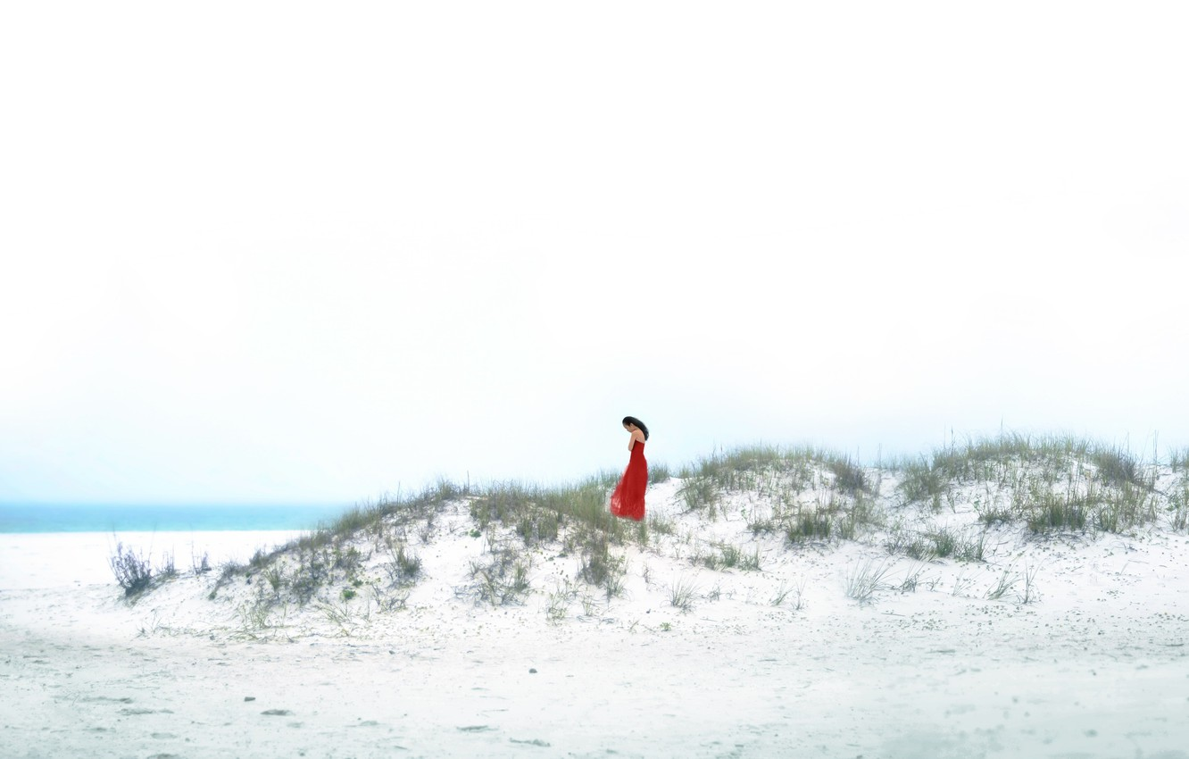 Photo wallpaper sea, girl, shore