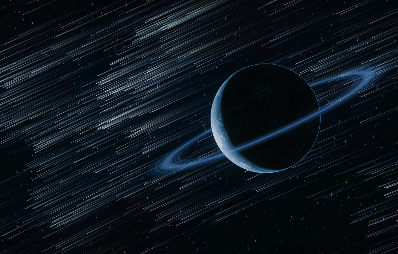 Photo wallpaper space, stars, planet, ring