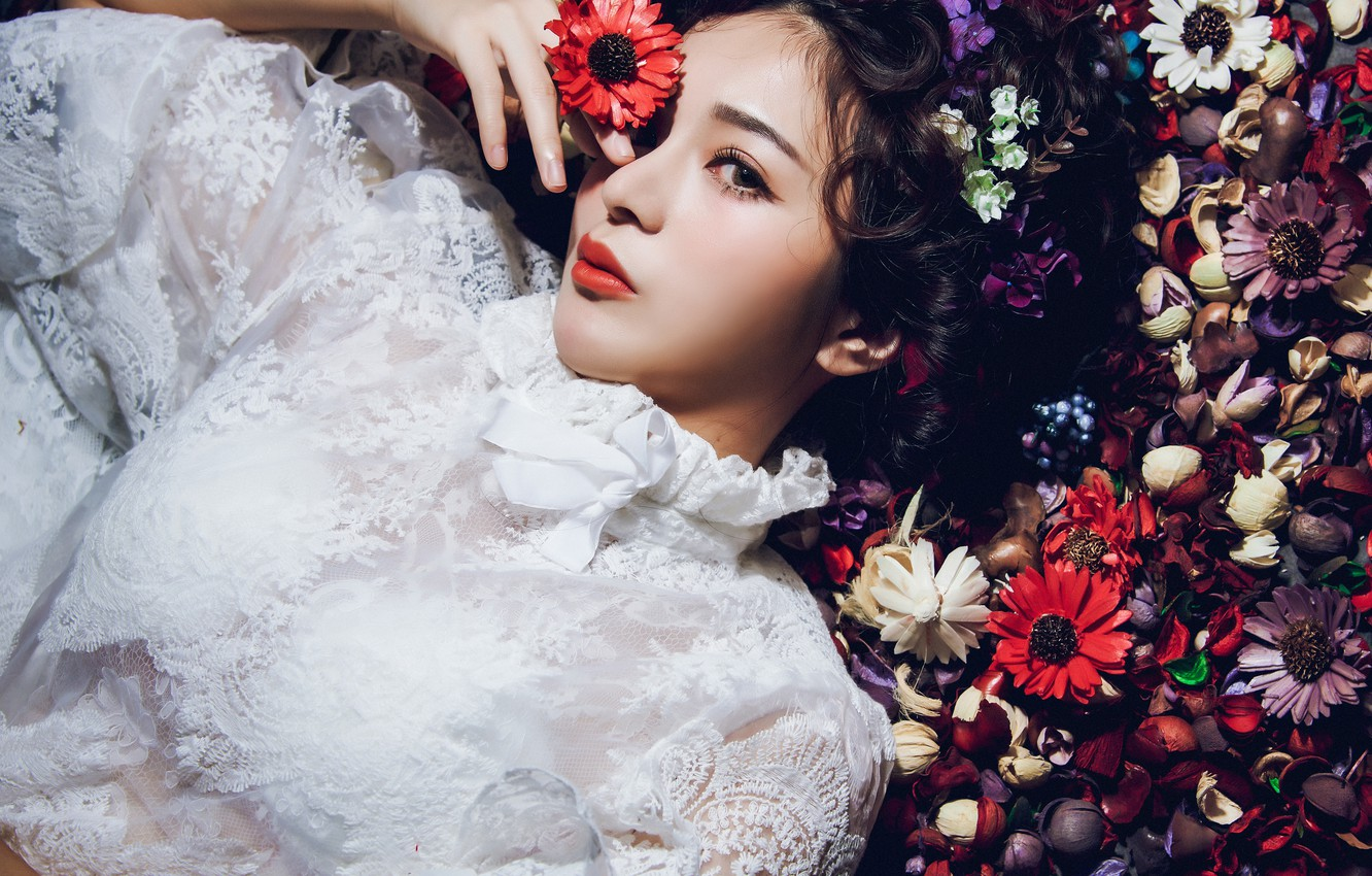 Photo wallpaper look, flowers, style, mood, model, blouse, Asian