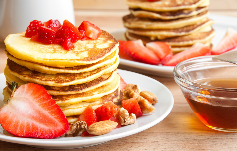 Photo wallpaper berries, strawberry, nuts, pancakes, pancakes