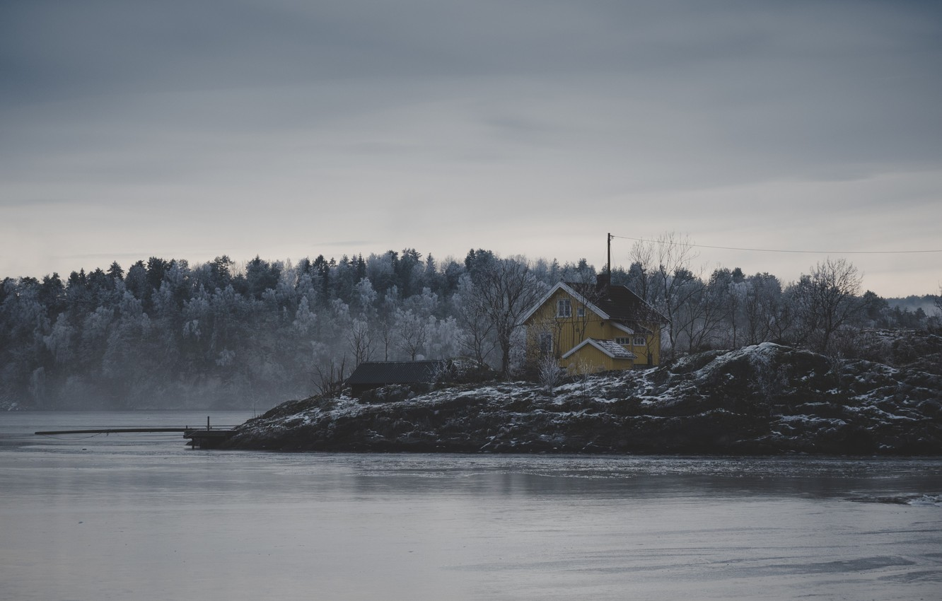 Photo wallpaper ice, house, storm, river, trees, nature, winter, lake, snow, fog, frozen, cold, mist, frost