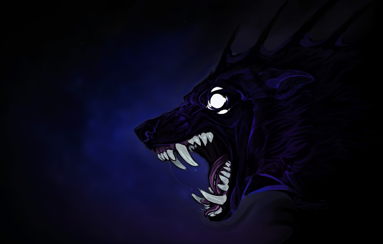 Photo wallpaper eyes, monster, fangs, beast, werewolf