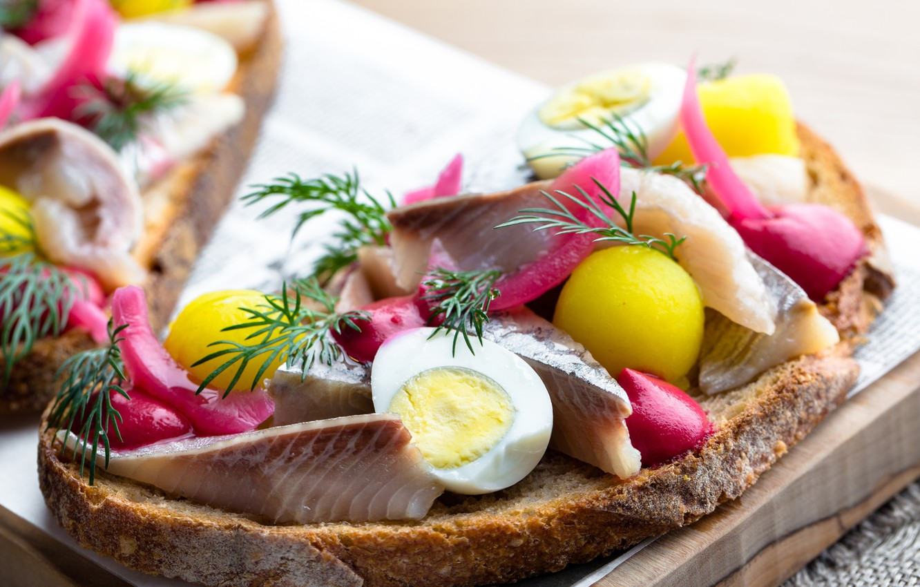 Photo wallpaper egg, dill, bread, sandwich, herring