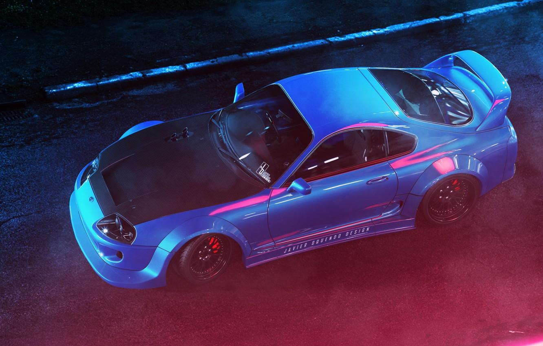 Photo wallpaper Light, Japan, Toyota, Car, Blue, Supra