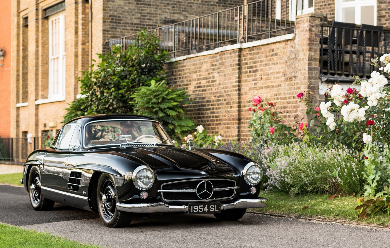 Photo wallpaper black, sports car, Mercedes-Benz 300 SL, 1954 Mercedes-Benz 300 SL