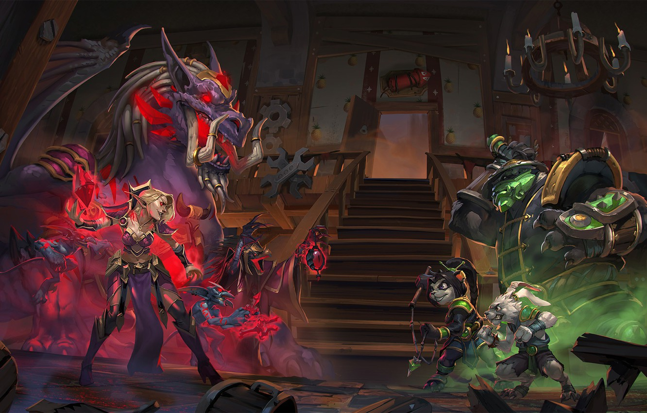Wallpaper Ladder Creatures Heartstone Cinematic Painting Tavern