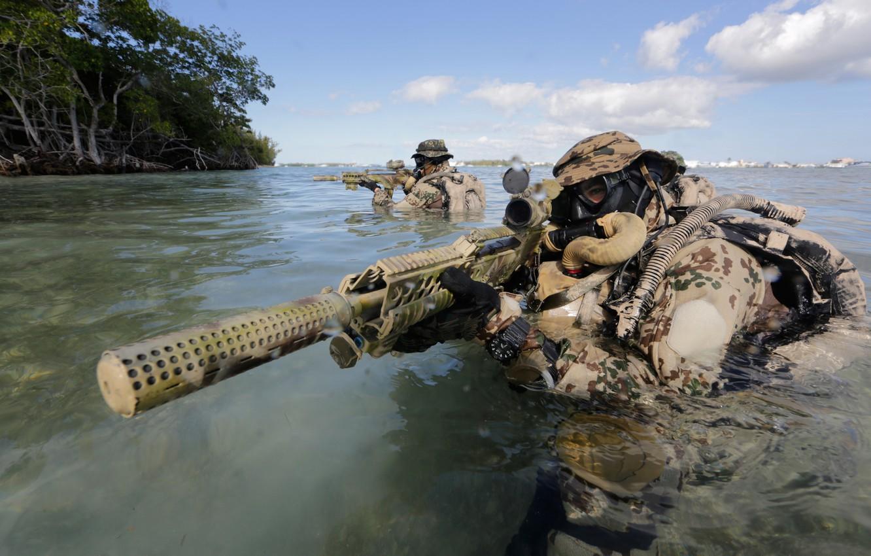 Photo wallpaper water, machine, fighters, muffler, Bundeswehr, Kommando