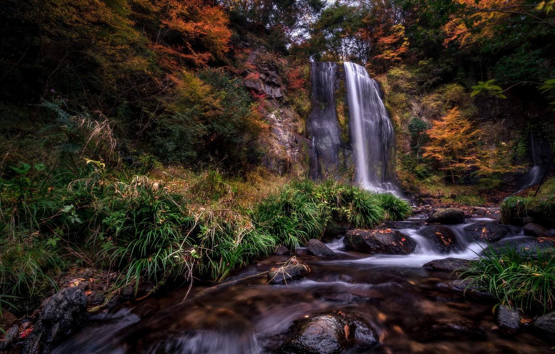 Photo wallpaper autumn, river, waterfall