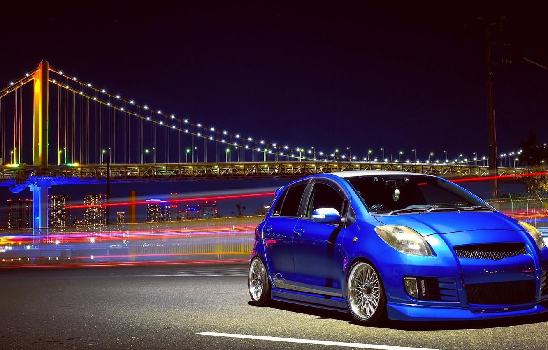Photo wallpaper bridge, Toyota, hatchback, Discover The Toyota, Yaris