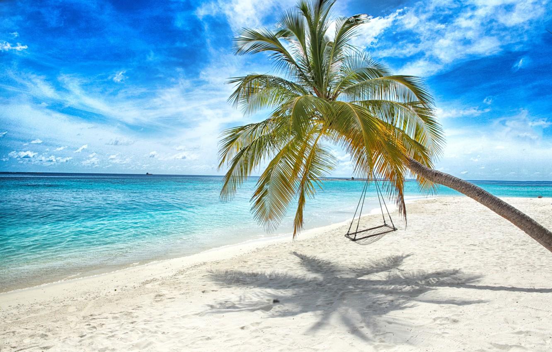 Photo wallpaper sand, sea, beach, the sun, palm trees, swing, shore, summer, beach, sea, island, sand, paradise, ...