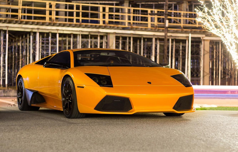 Photo wallpaper Lamborghini, Light, Night, Murcielago, Yellow