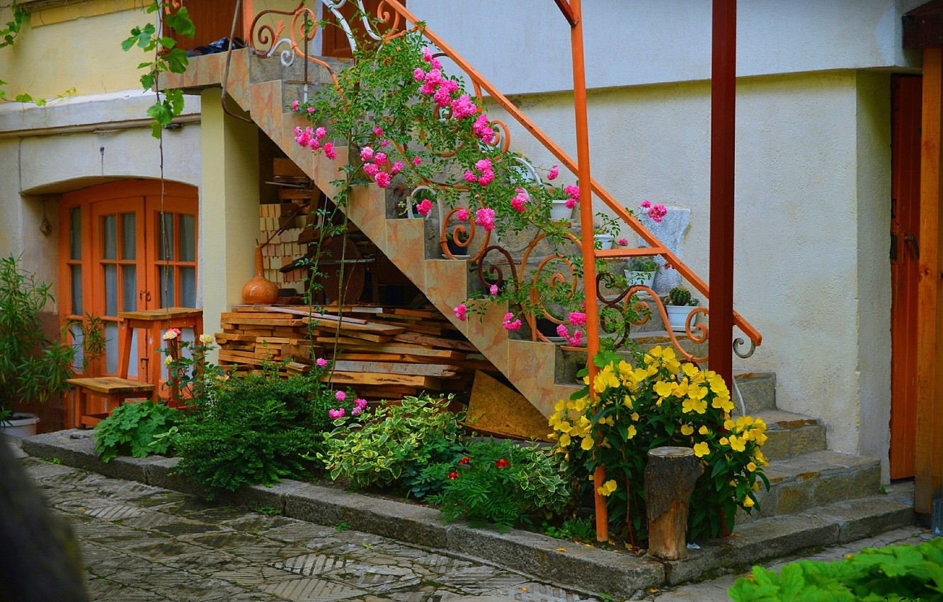 Photo wallpaper Flowers, Ladder, House, Flowers, Colors, Yard