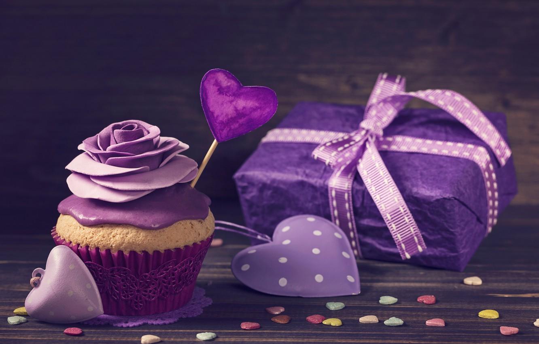 Photo wallpaper gift, rose, tape, hearts, decoration, cream, cupcake, purple, violet, birthday cake, Elena Schweitzer