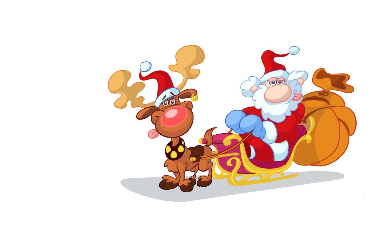 Photo wallpaper holiday, minimalism, deer, art, New year, sleigh, Santa Claus, bag