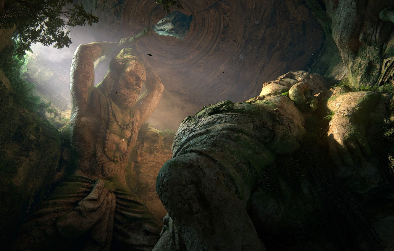Wallpaper Rock Game Fight Giant Colossus Uncharted