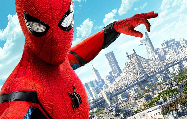 Photo wallpaper city, cinema, spider, boy, Marvel, movie, Spider-man, hero, film, Spiderman, uniform, yuusha, seifuku, Justice League, …