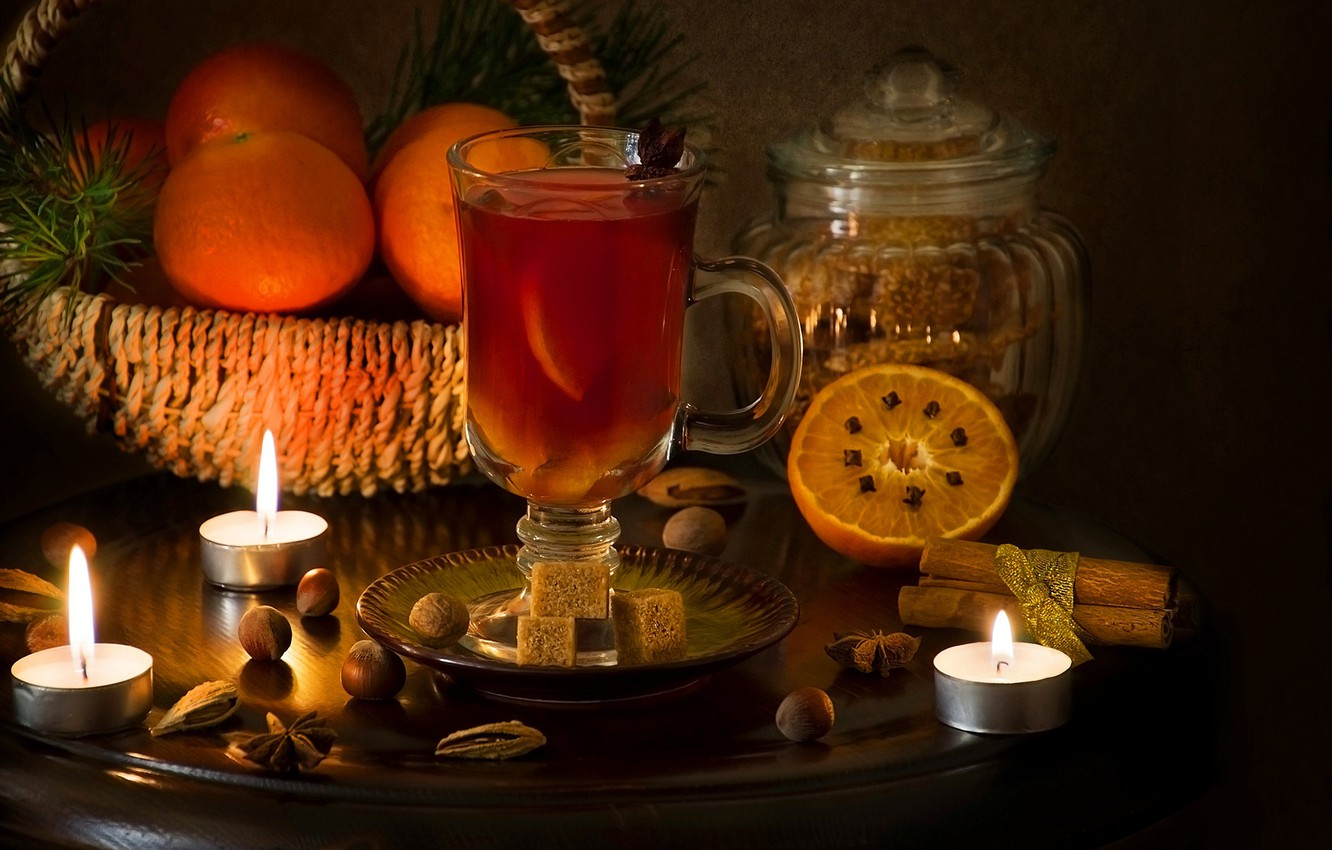 Photo wallpaper candle, oranges, spices, mulled wine