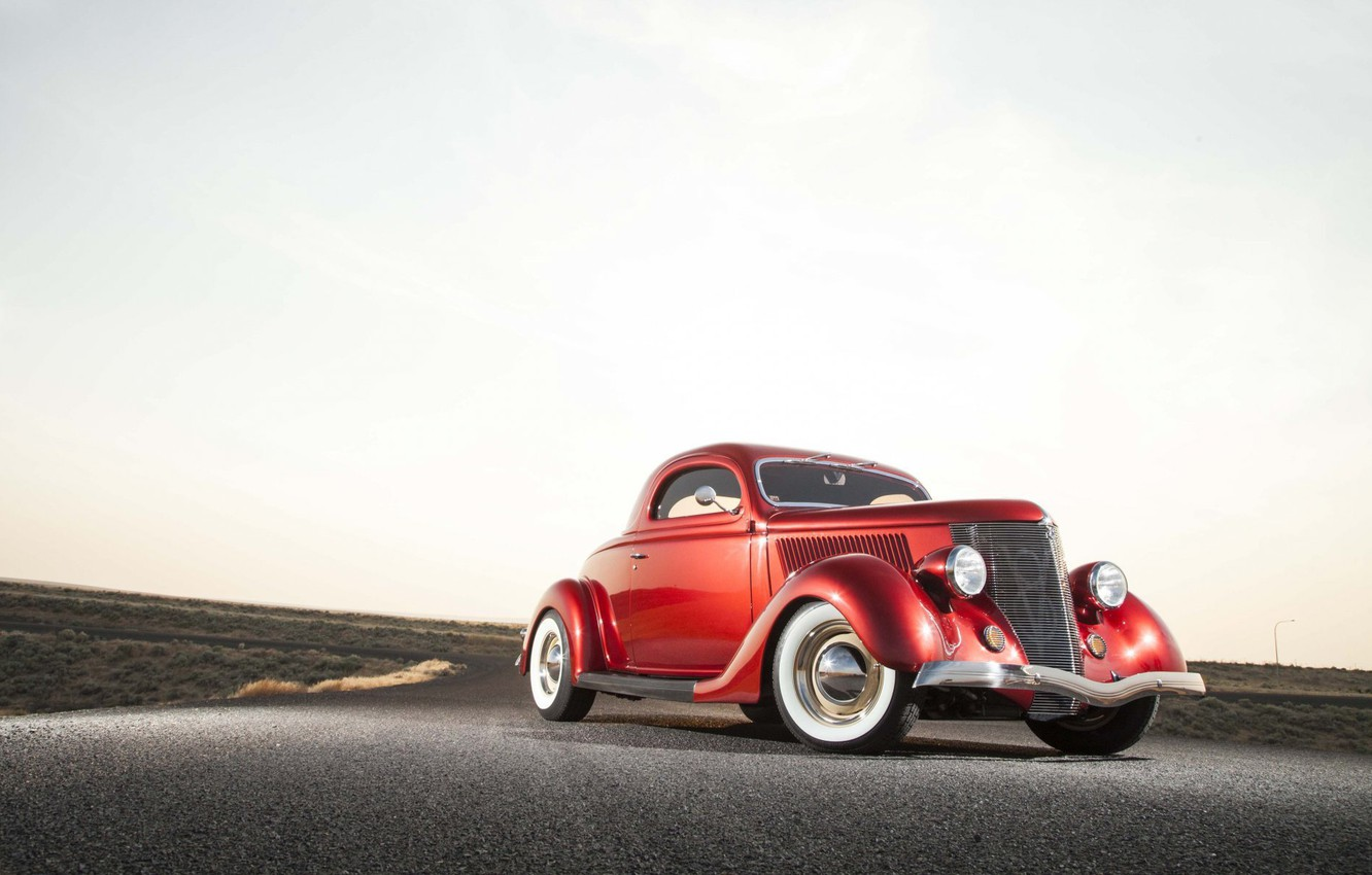 Photo wallpaper Ford, red, retro, 1936, old car