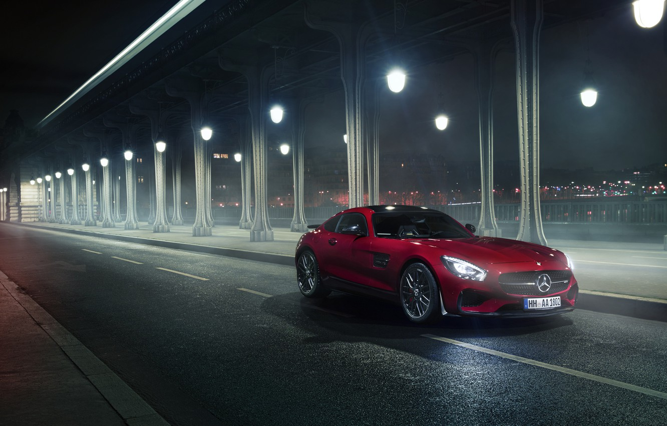 Photo wallpaper Mercedes-Benz, Red, Car, Front, AMG, Night
