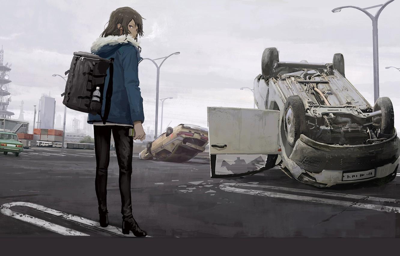 Photo wallpaper girl, machine, street