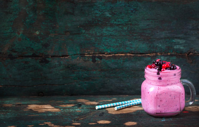Photo wallpaper berries, raspberry, Breakfast, black, red, currants, smoothies with yogurt