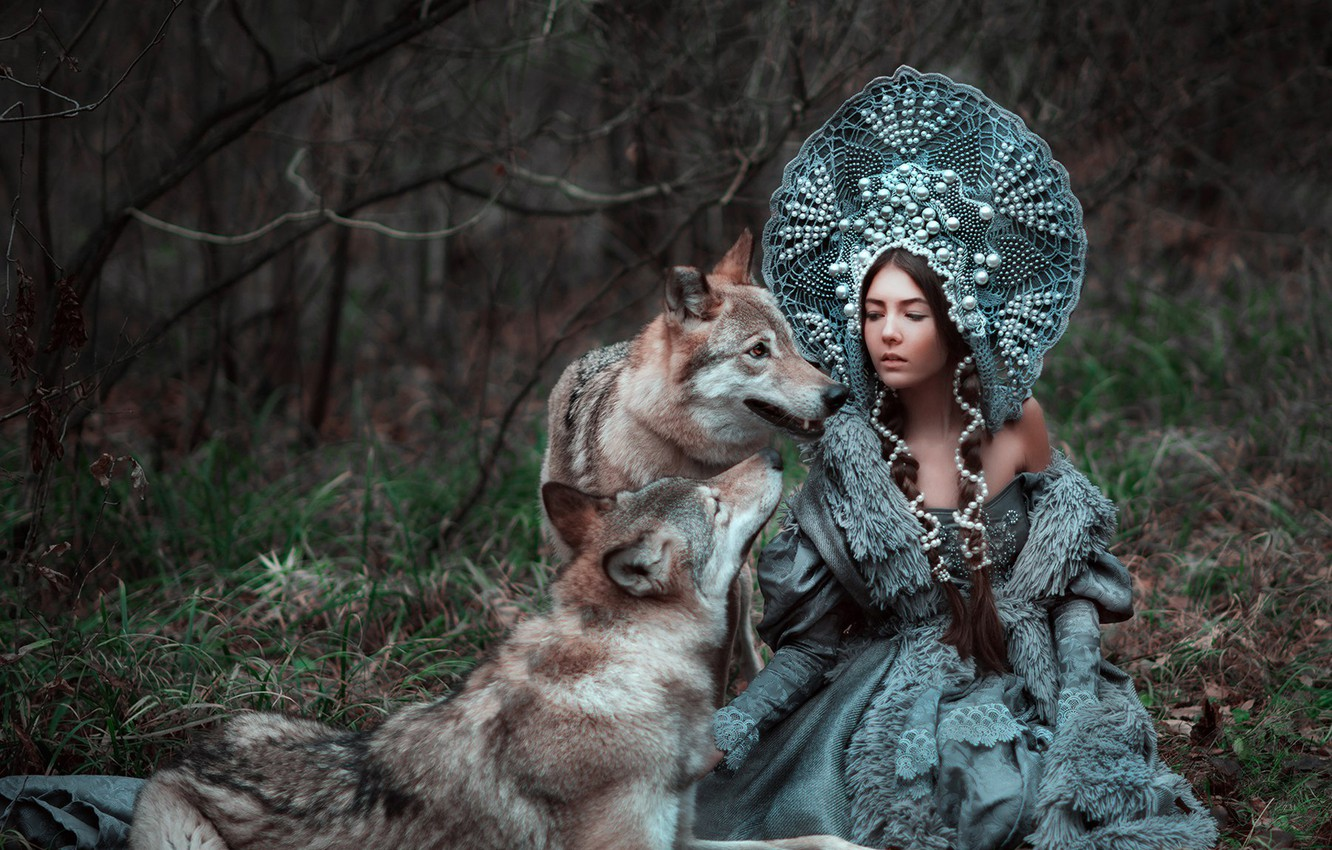 Photo wallpaper forest, girl, beauty, wolves, Xenia, kokoshnik, Maria Lipina