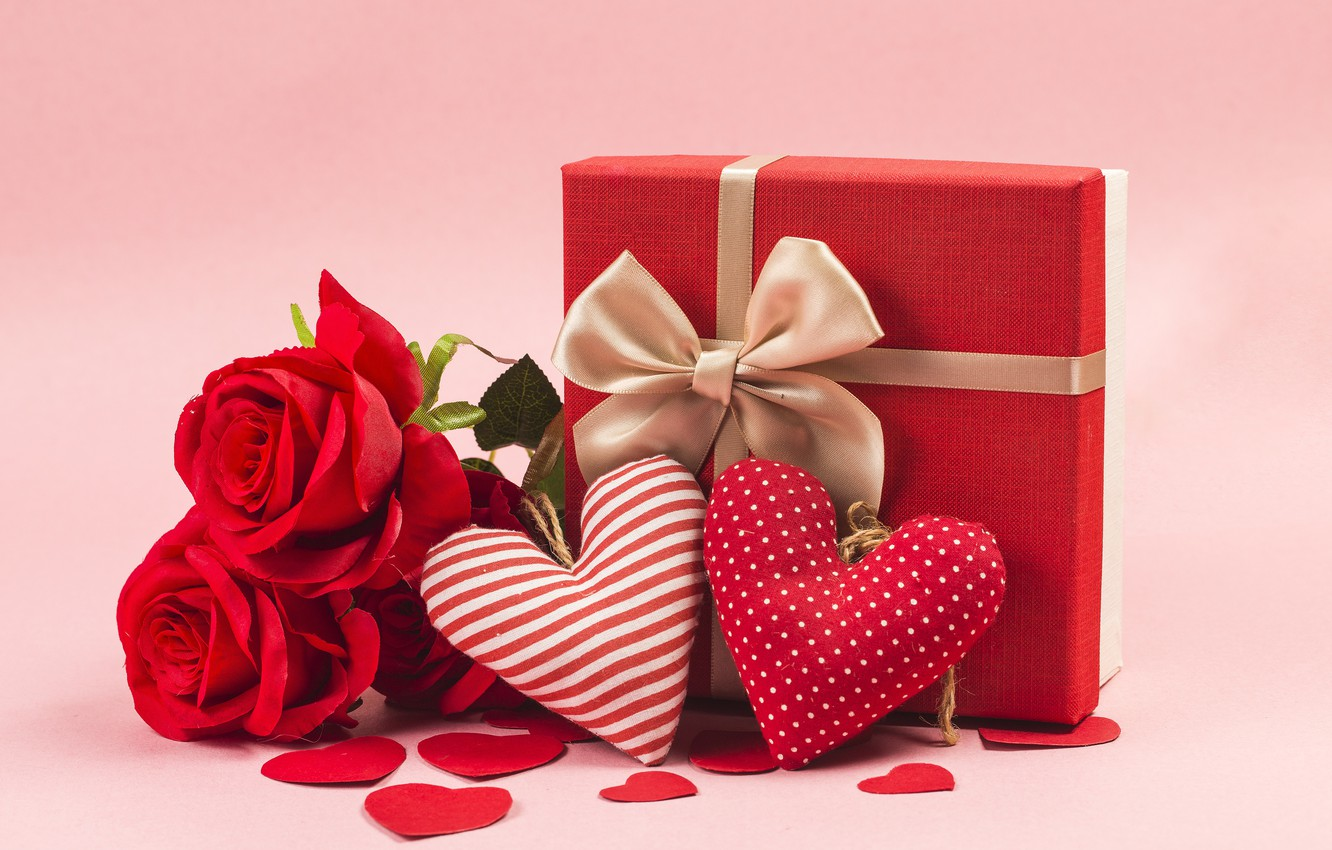 Photo wallpaper Love, Holiday, Heart, Gift, Valentine's day