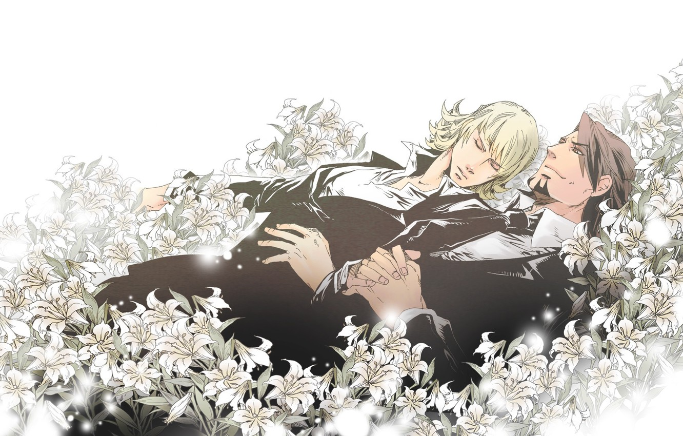 Photo wallpaper flowers, guys, two, Kotetsu, Tiger and Bunny, Tiger and Bunny, Barnaby