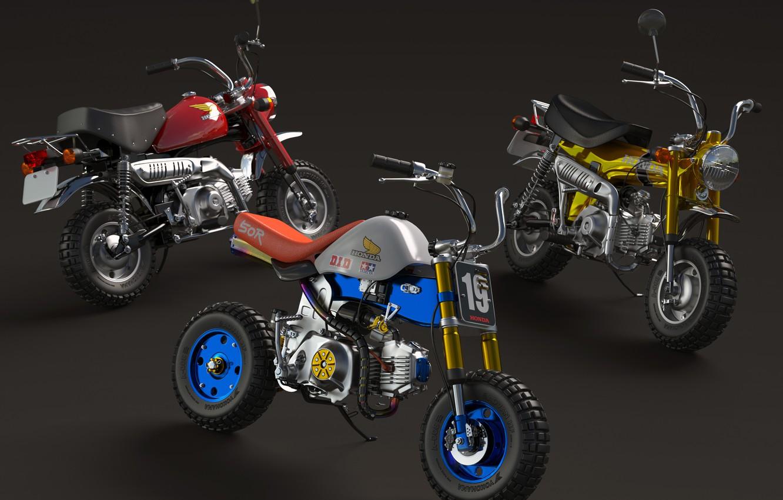 Photo wallpaper style, motorcycles, three, minibike