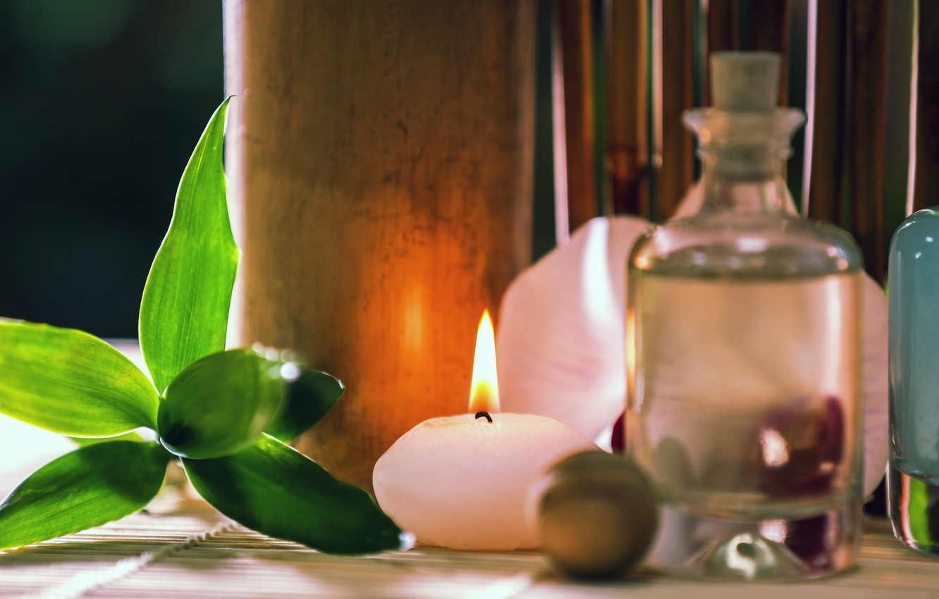 Photo wallpaper oil, candles, Spa