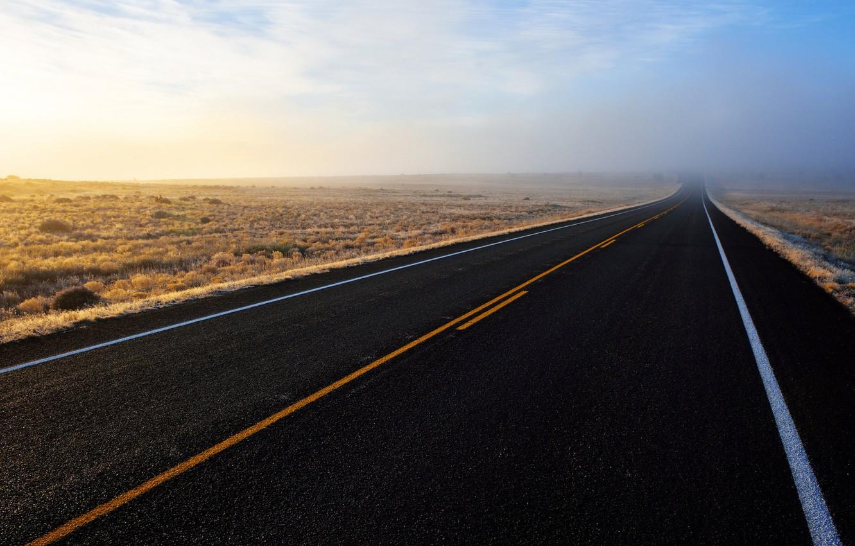 Photo wallpaper road, field, fog
