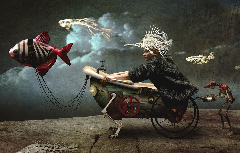 Photo wallpaper girl, fish, surrealism, bath, skeletons, crank, chubaka