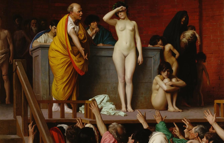 Photo wallpaper erotic, picture, genre, Jean-Leon Gerome, Selling Slave Girls