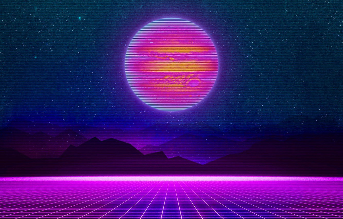 Photo wallpaper Mountains, Music, Stars, Neon, Planet, Space, Background, Jupiter, Electronic, Synthpop, Darkwave, Synth, Retrowave, Synth-pop, Sinti, …