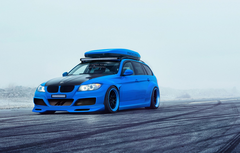 Photo wallpaper BMW, Car, Blue, Sport, Touring, E91