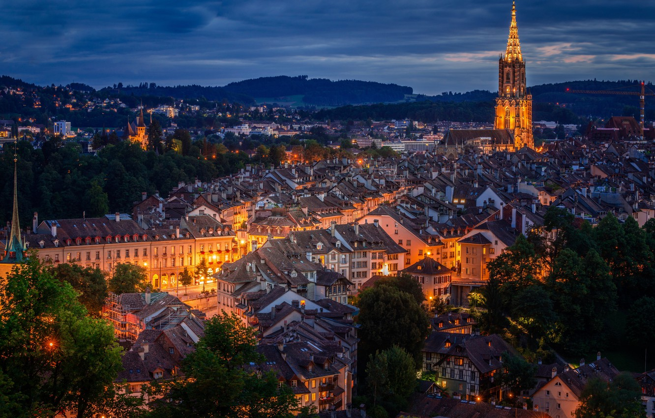 Photo wallpaper Switzerland, panorama, night city, Switzerland, Bern, Bern