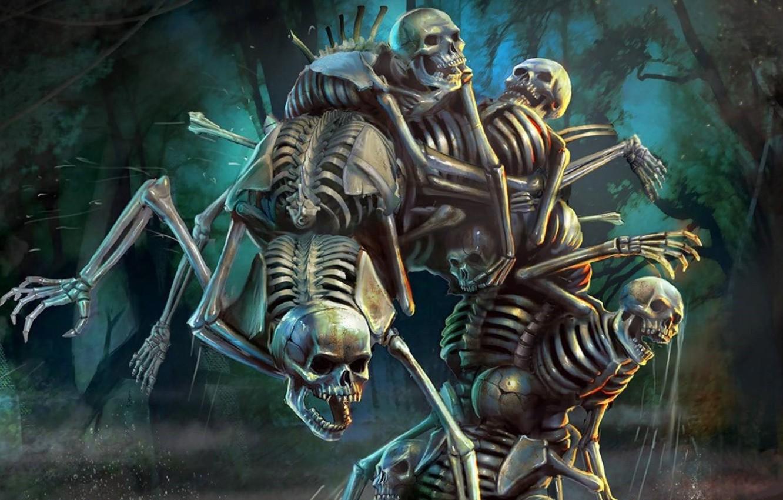 Photo wallpaper night, jaw, fight, dump, skull, skeletons, art, undead, human, Juice00116