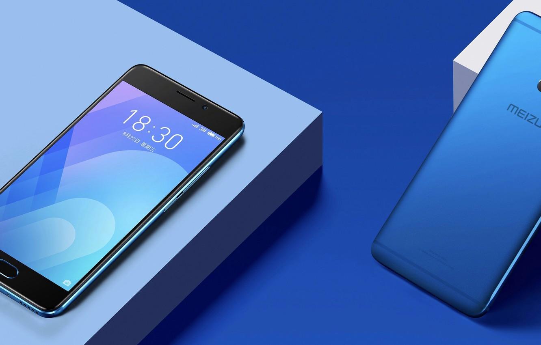 Photo wallpaper Blue, Smartphone, Meizu, M6 Note