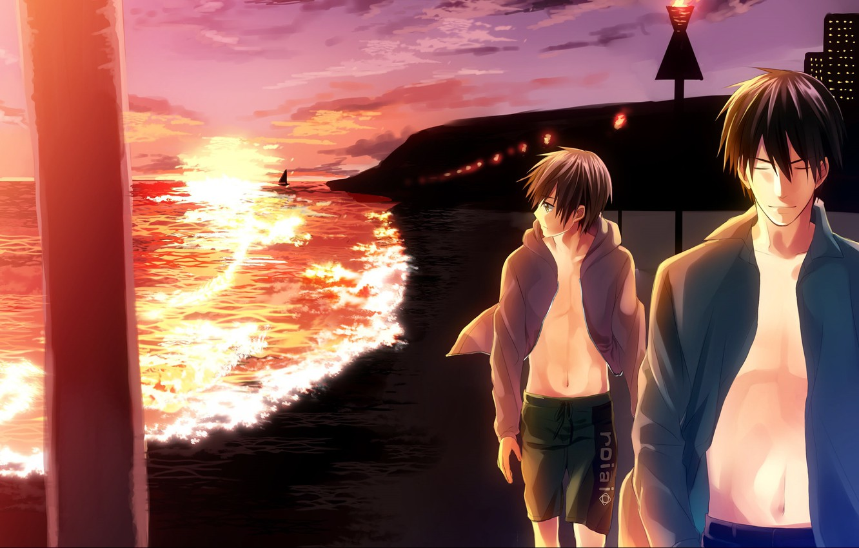 Photo wallpaper sea, sunset, anime, art, walk, guys, Provides ichi Hatsukoi