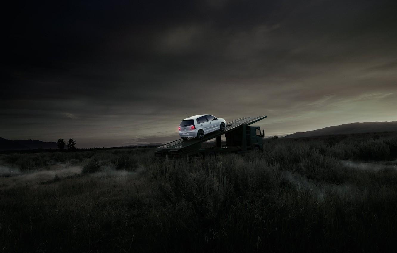 Photo wallpaper field, white, Volkswagen, KAMAZ