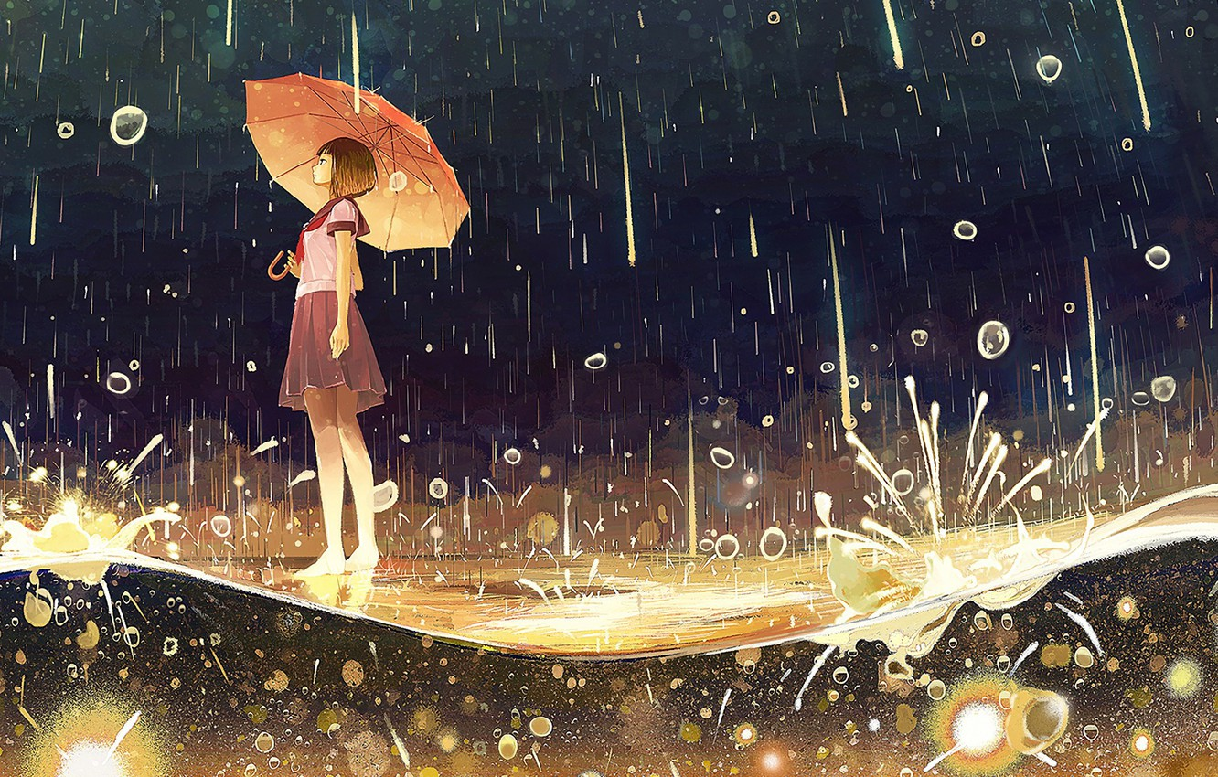 Photo wallpaper drops, squirt, night, barefoot, puddle, girl, schoolgirl, the shower, under the umbrella