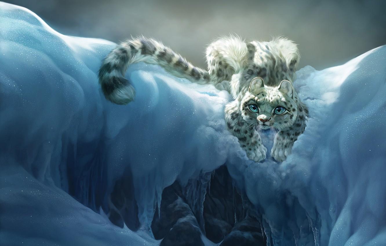 Photo wallpaper cat, snow, mountains, mood, art, bars, children's